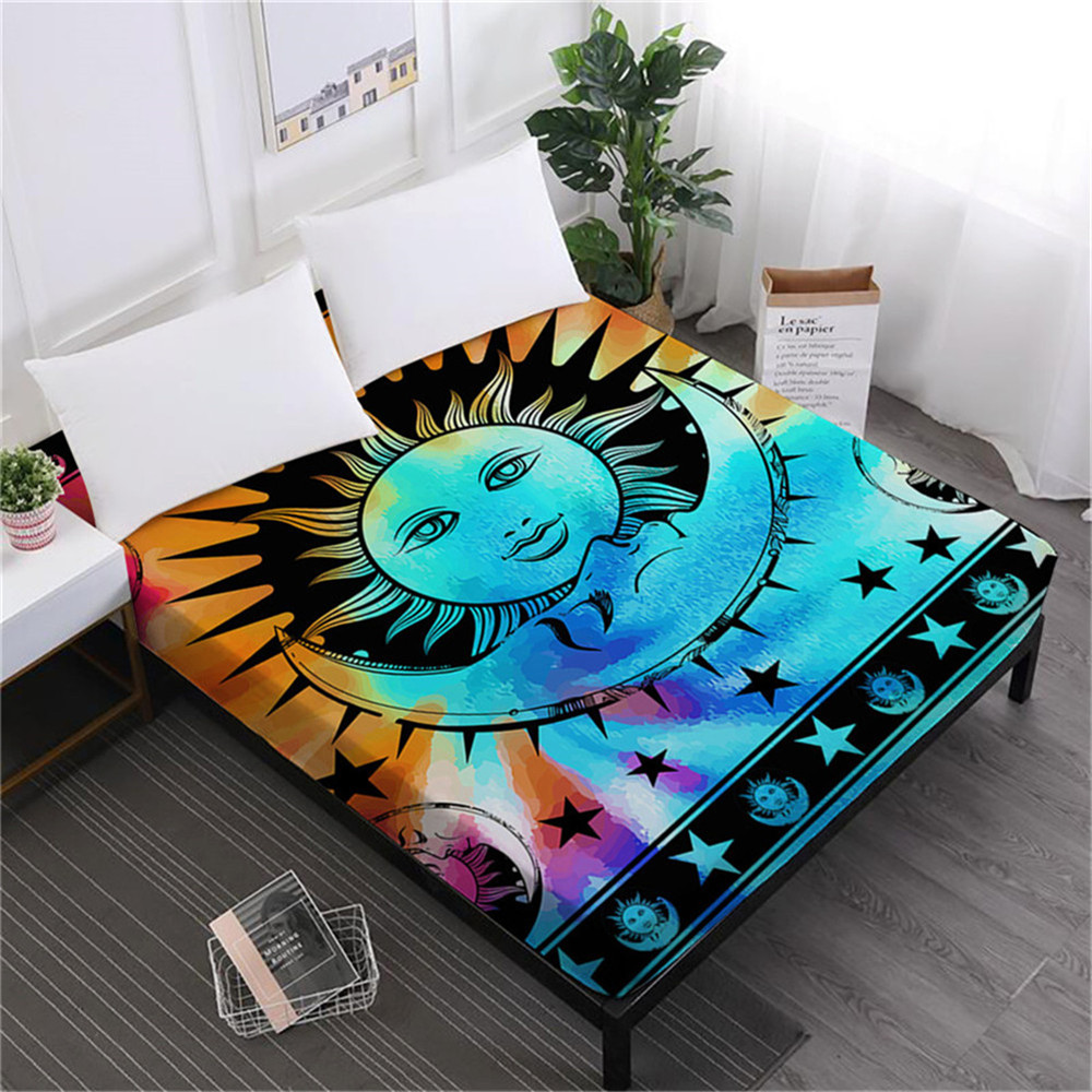Tie Dyeing Cartoon Moon Sun Bed Sheet Bohemia Mandala Fitted Colorful Elephant Print Bedding Deep Pocket Home Decor