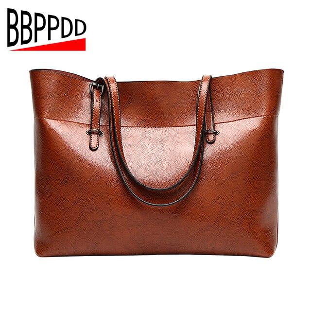 827a8eec14e2 BBPPDD 2018 Women Leather Handbags Lady Large Tote Bag Female Pu Shoulder  Bags Bolsas Femininas Sac A Main Brown Black Red