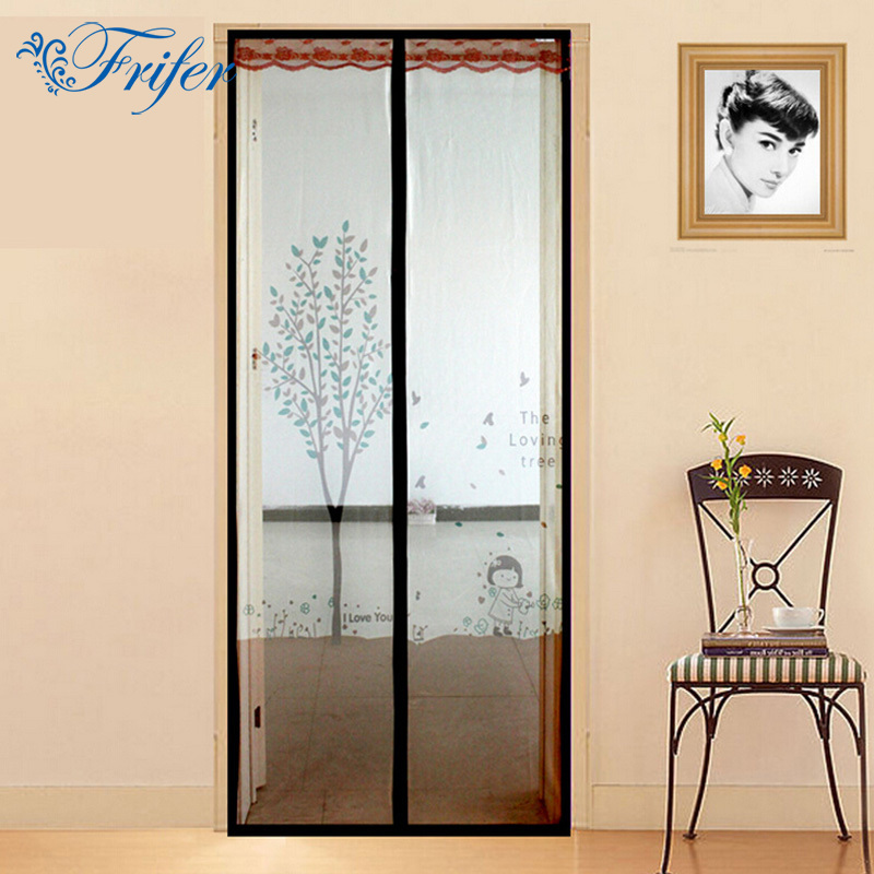 Summer Tulle Door Screen Magnetic Mesh Curtains Screen Insect Fly Bug Spider Mosquito Door Net for Kitchen Bedroom Hands Free