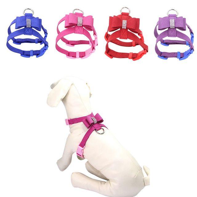 Bling strass Pet Puppy Dog Harness Velvet & Guinzaglio di Cuoio per Piccolo Cucc