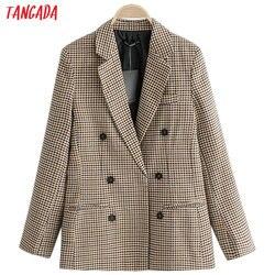 Tangada двубортный жакет классический жакет жакет в клетку геометрический принт бежевый пиджак коричневый пиджак элегантный жакет деловой ст...