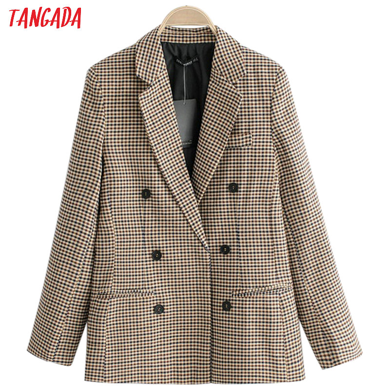 Tangada Women Vintage Plaid Blazer Female Long Sleeve Elegant Jacket Ladies Work Wear Blazer Formal Suits QJ76