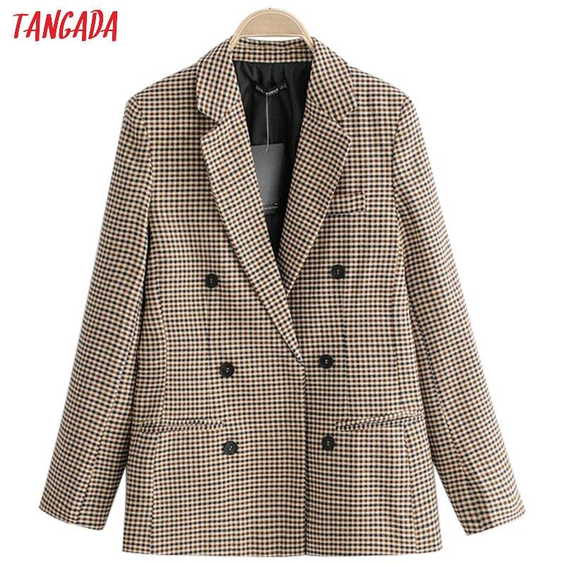 Tangada Women Vintage Plaid Blazer Female Long Sleeve Elegant Jacket Ladies Work Wear Blazer Formal Suits QJ76