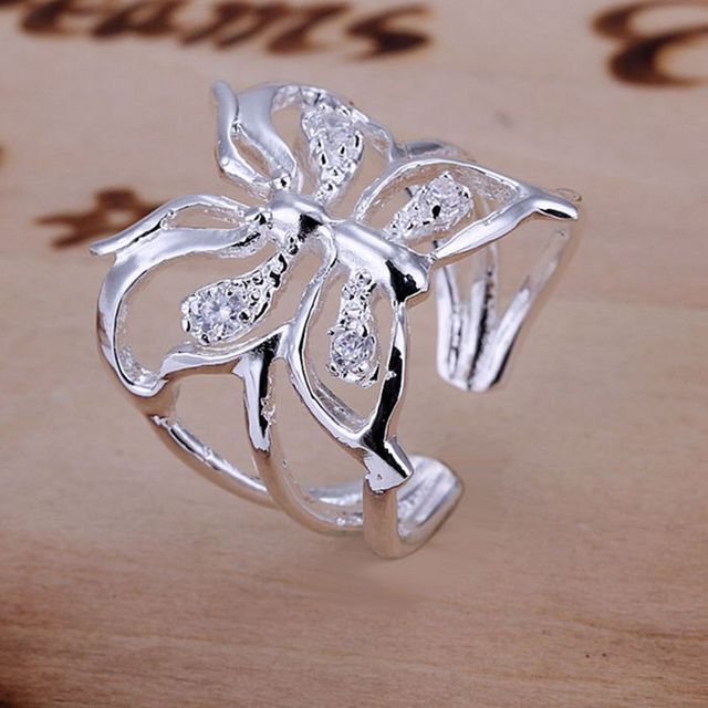 925 jewelry silver plated Ring Fashion Zircon Butterfly Opening Ring Women&M