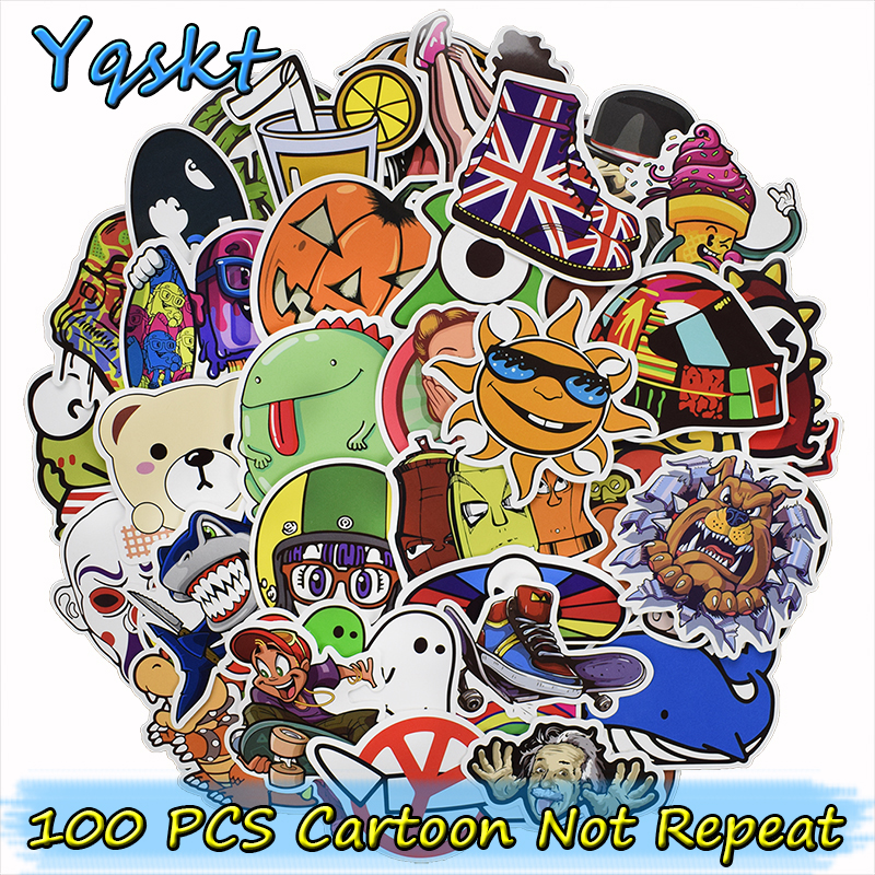 цена на 100 Pcs Funny Cartoon Stickers for Laptop Bicycles Phone Luggage Car Styling Home Decor Fashion Sticker Toy Anime DIY Decals