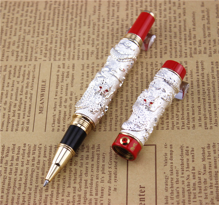 send a refill ballpoint Pen metal School Office supplies dragon roller ball pens high quality luxury business gift 006 wholesale sales promotion ballpoint pen jinhao 1683 gold roller ball pen steel metal dragon gift silver send a refill yy12