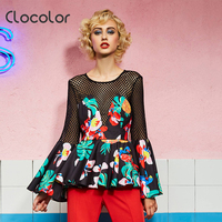 Clocolor Women Top Round Neck Slim Flower Print Solid Black Full Flare Sleeve Autumn Fashion Modern
