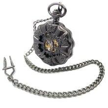 Black Case Half Hunter Roman Number Dial Steampunk Vintage Hollow Analog Skeleton Hand Winding Mens Mechanical