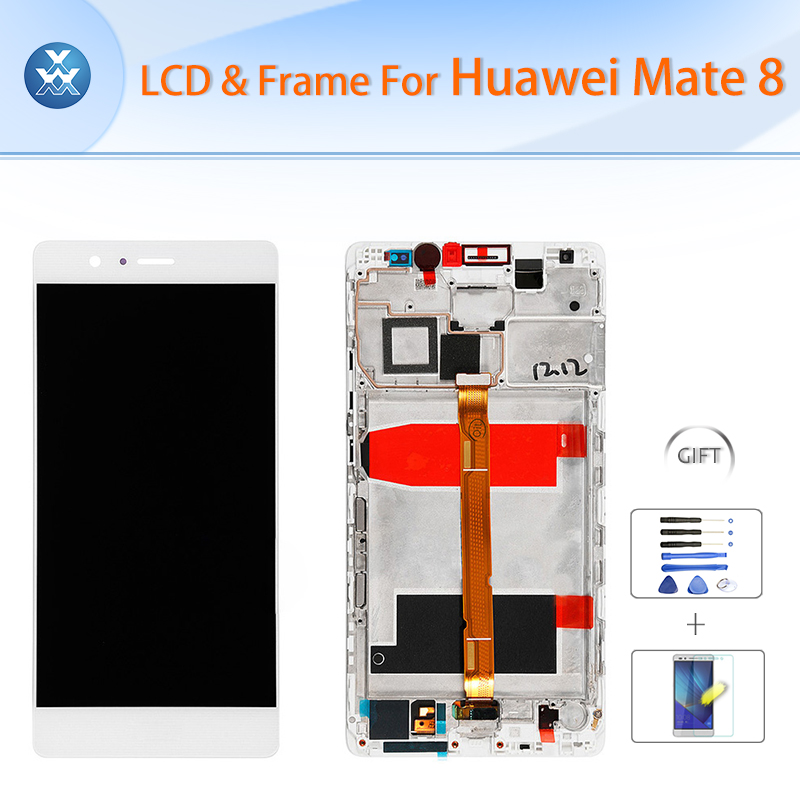 Original LCD for Huawei Mate 8 LCD display touch screen digitizer glass assembly frame 6 inch screen gold black white+tools+film high quality folium eriobotryae extract loquat leaf p e