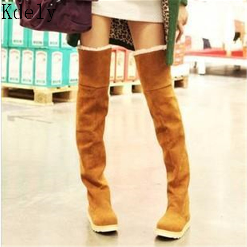 Thigh High Boots Female Winter Boots Women Keep Warm Over The Knee Boots Flat Stretch Sexy Fashion Shoes New Riding Boots