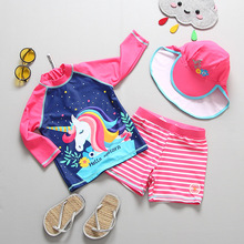 3pcs set Girls Swimsuit 2019 Unicorn Girls Swimwear For Children Unicorn Bathing Suit Swimwear With Hat CZ992 cheap Two Pieces Polyester cartoon Fits true to size take your normal size XABER KIN