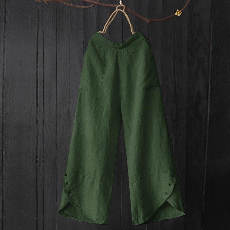 L 5XL Casual Work Long Trousers Vintage Button Irregular   Wide     Leg     Pants   2019 Women Solid Elastic Waist Loose Pantalons Female