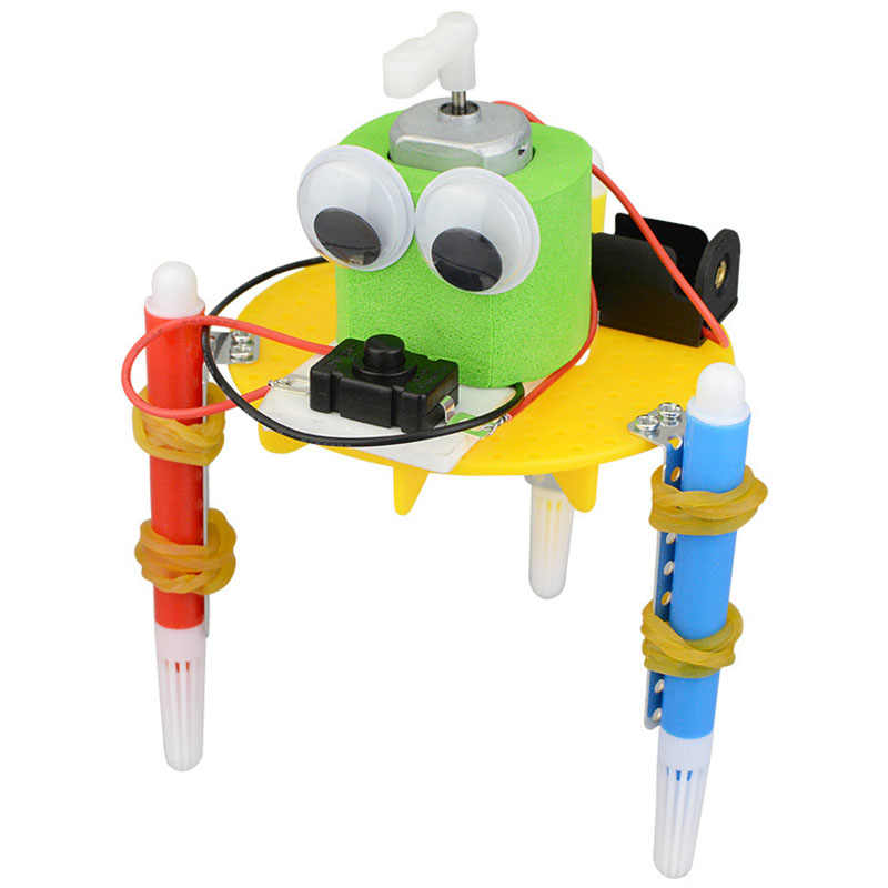 Creative Scientific Gizmo DIY Graffiti Robot Kids Puzzle Assembled Handmade Toy Simple Physics Teaching Resources