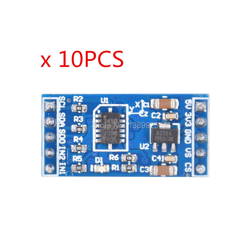 Free Shipping 10pcs/lot ADXL345 3-axis Digital Gravity Sensor Acceleration Module Tilt Sensor For Arduino