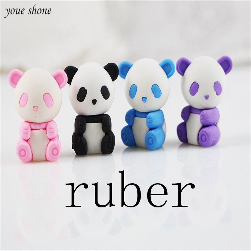 2Pcs/lots Cute Panda Rubber Eraser Cute Stationery Animal Cartoon Erasers For Office School Supplies Gifts