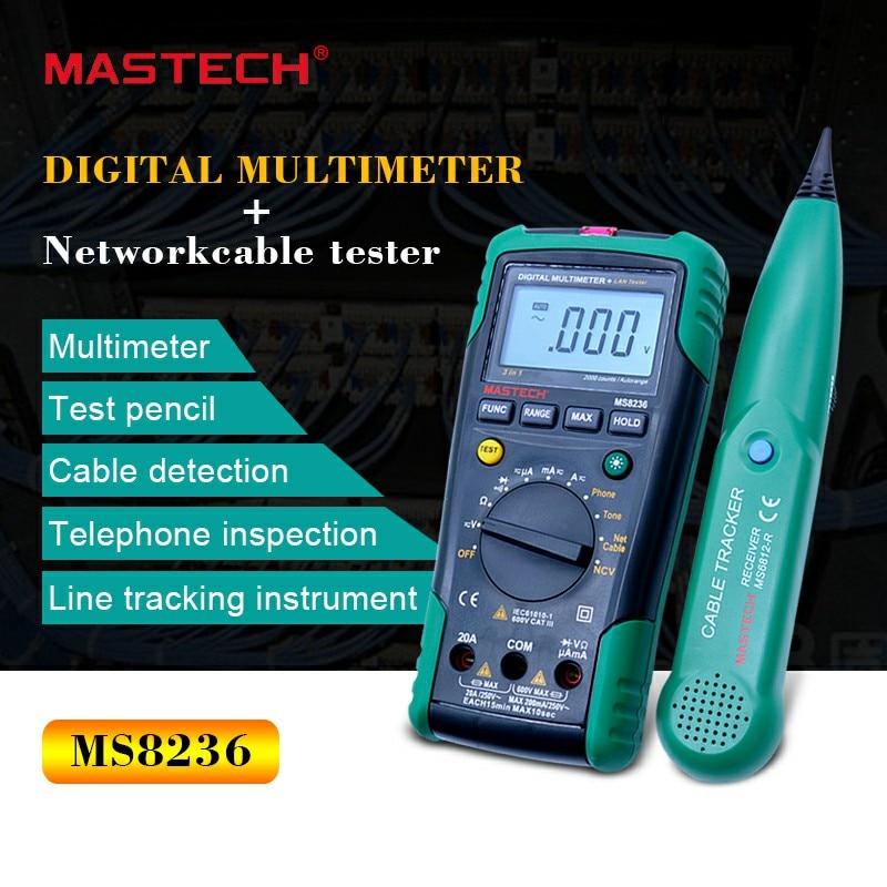 MASTECH MS8236 Auto Gamme Multimètre Numérique Testeur LAN Net Câble Tracker Tone Téléphone ligne Vérifier Sans contact Tension Détecter