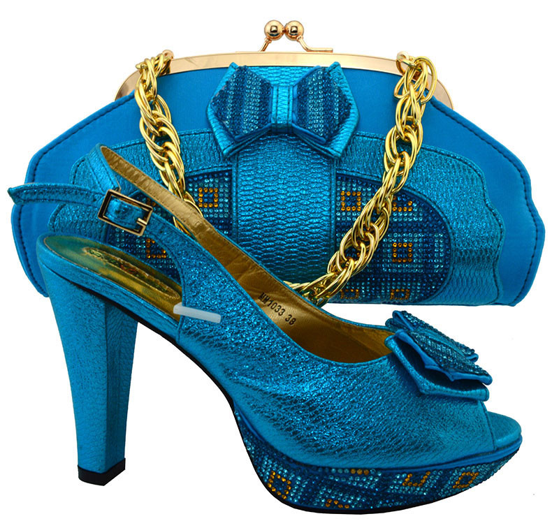 Sea Blue Color Matching Shoes and Bags for African Partys ...
