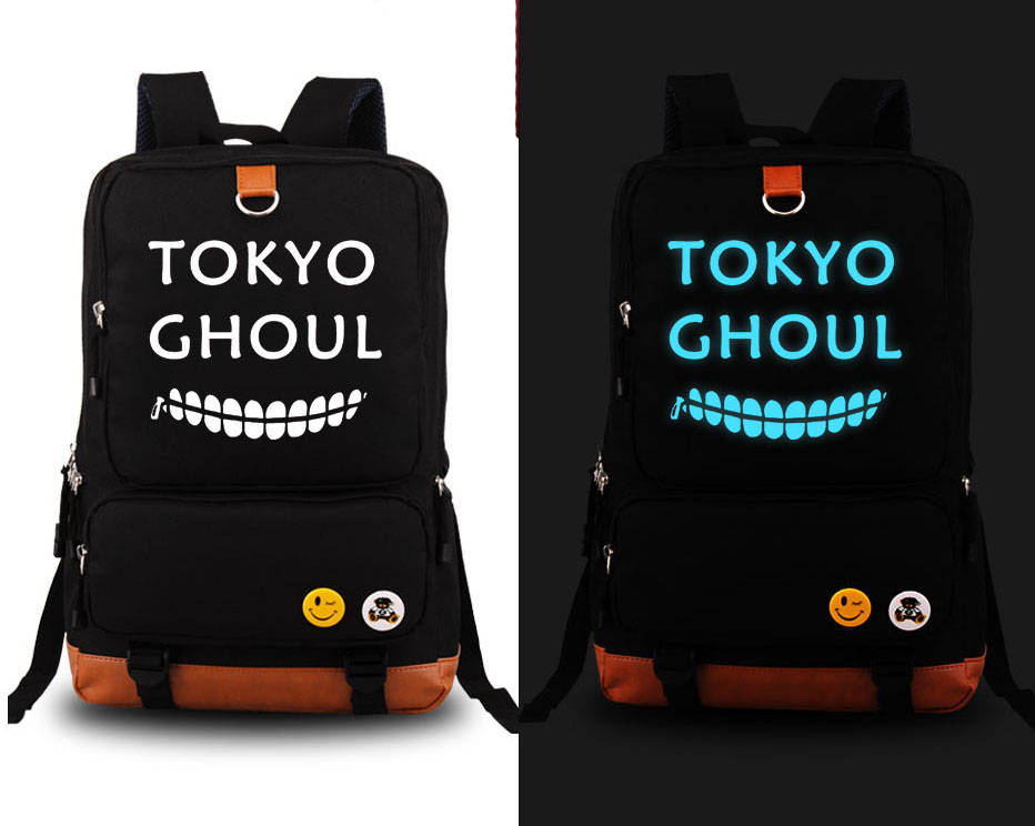 New Tokyo Ghoul Cosplay Backpack Anime Fashion Canvas Student Luminous Schoolbag Unisex Travel Bags