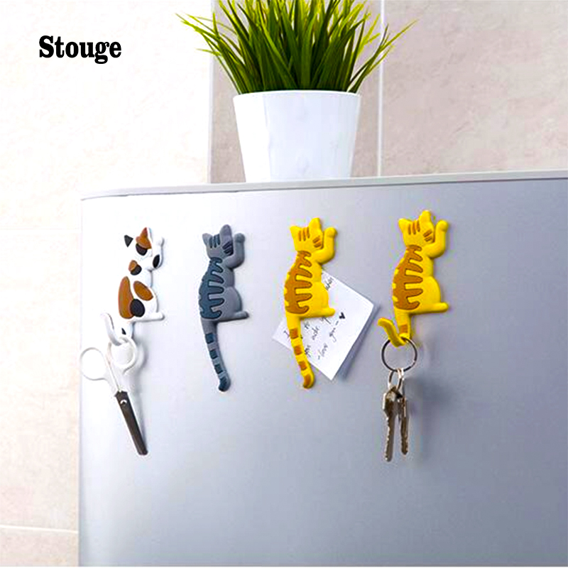 Stouge Multifunctional Strong Magnetic Hook Lovely Cartoon Cat Sucker Kitchen Refrigerator Microwave Oven Magnet Hook 3 Colors
