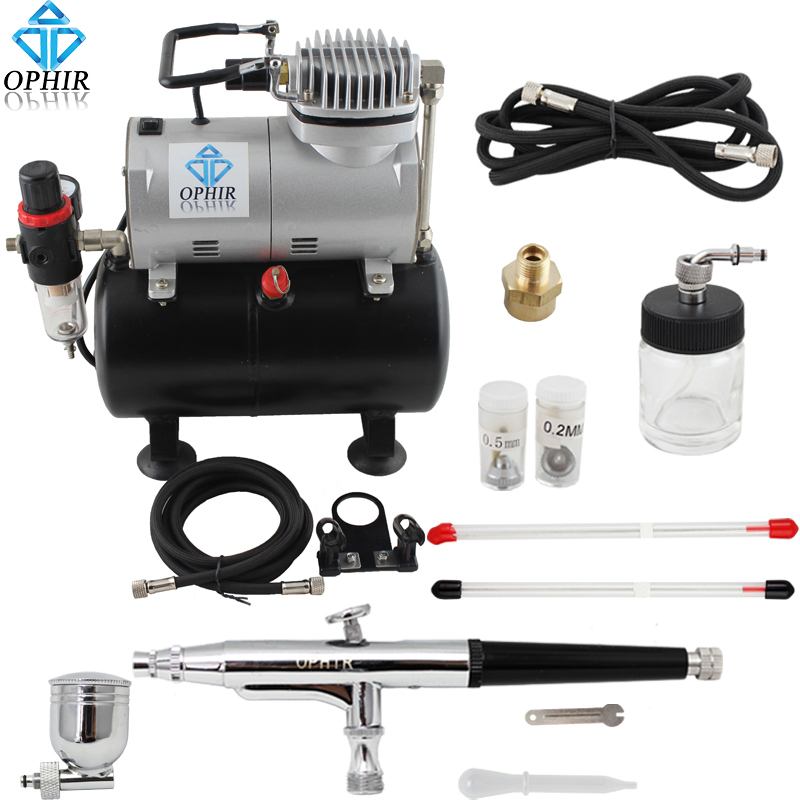 OPHIR Pro 3 Tips Dual Action Airbrush Gravity Paint with Air Tank Compressor for Hobby Paint Temporary Tattoo Tanning _AC090+074 ophir temporary tattoo tool dual action airbrush kit with air tank compressor for model hobby cake paint nail art ac090 ac004
