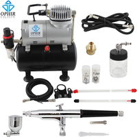 OPHIR Pro 3 Tips Dual Action Airbrush Gravity Paint with Air Tank Compressor for Hobby Paint Temporary Tattoo Tanning _AC090+074