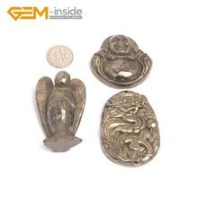 Натуральный серебристый серый Пирит драгоценный камень резной Топ Просверленный ювелирный бисер подвеска шарм 1 шт объемный драгоценный камень-внутри 1 шт