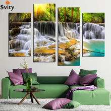 4 Panel Wall Pictures for Living Room Art Waterfall Canvas Painting Modular Picture Posters and Prints