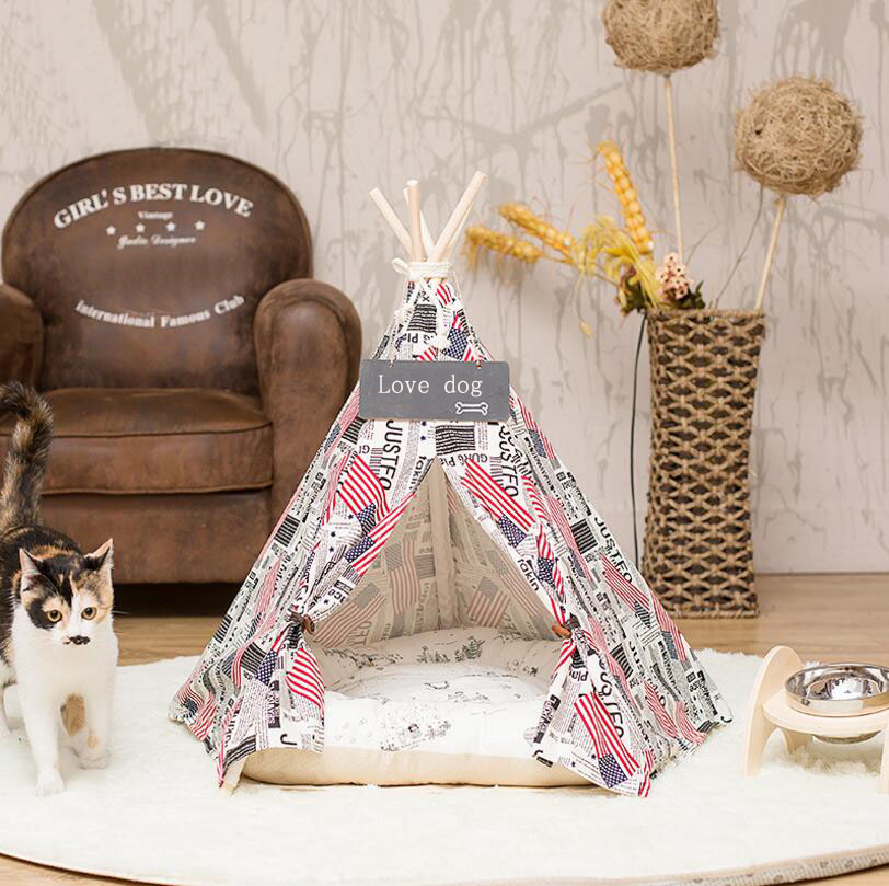 High quality Wood Pet <font><b>tent</b></font> Dogs Cats Out Mat Four Seasons Real Wood Bracket Canvas Folding Pet kennel hourse small dog bedSE15
