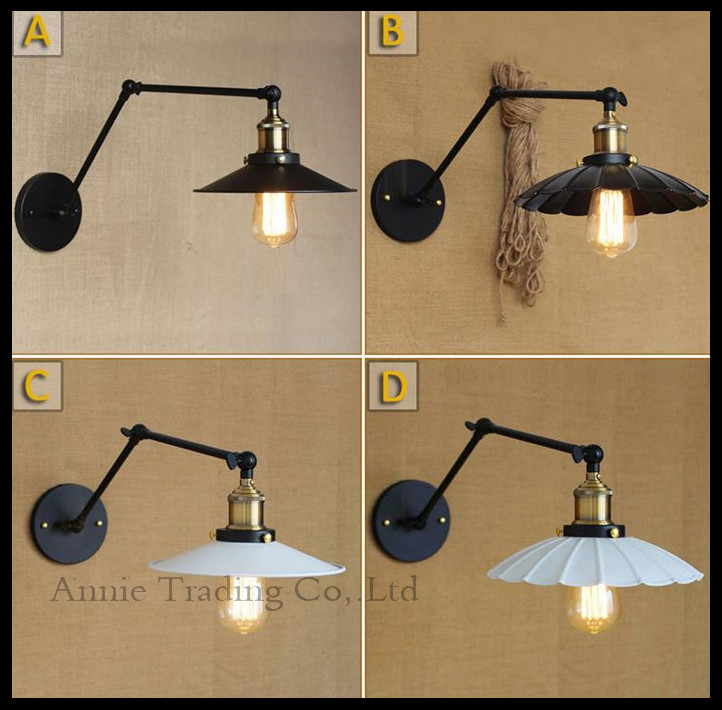 ФОТО Antique L21cm or L30cm double swing arms wall lamps Black white Lid Lotus leaf Metal lampshade  vintage Art Decoration fixture