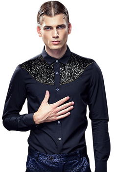 2018 High Quality Men Autumn Royal Prince Floral Slim Tuxedo Shirts Male Classic Party Long sleeve Top shirts Retro 612115