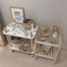 Креативная съемная полка для хранения и организации кухонной тележки, журнальный столик из цельного дерева, угловой стол, мебель для спальни