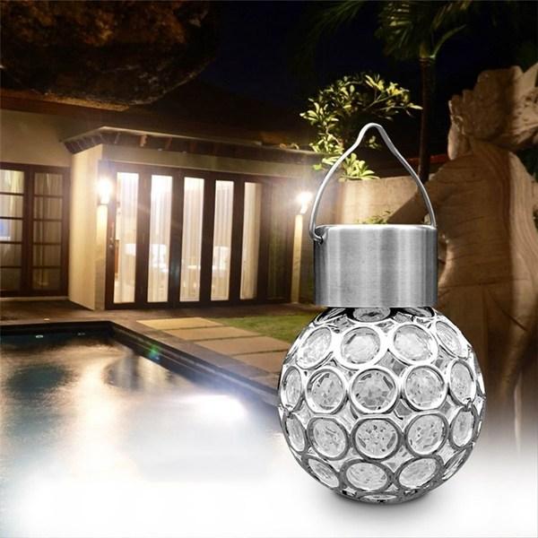 Mini LED Lantern Ball Hang lamp DC1.2V Colorful/White Light Plastic Solar Charging Night Lamp Decor For Garden Yard Pathway