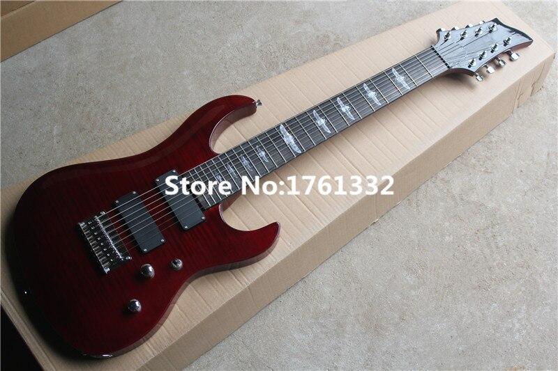 factory custom 24 frets 8 strings red neck thru body electric guitar with string thru body alder. Black Bedroom Furniture Sets. Home Design Ideas