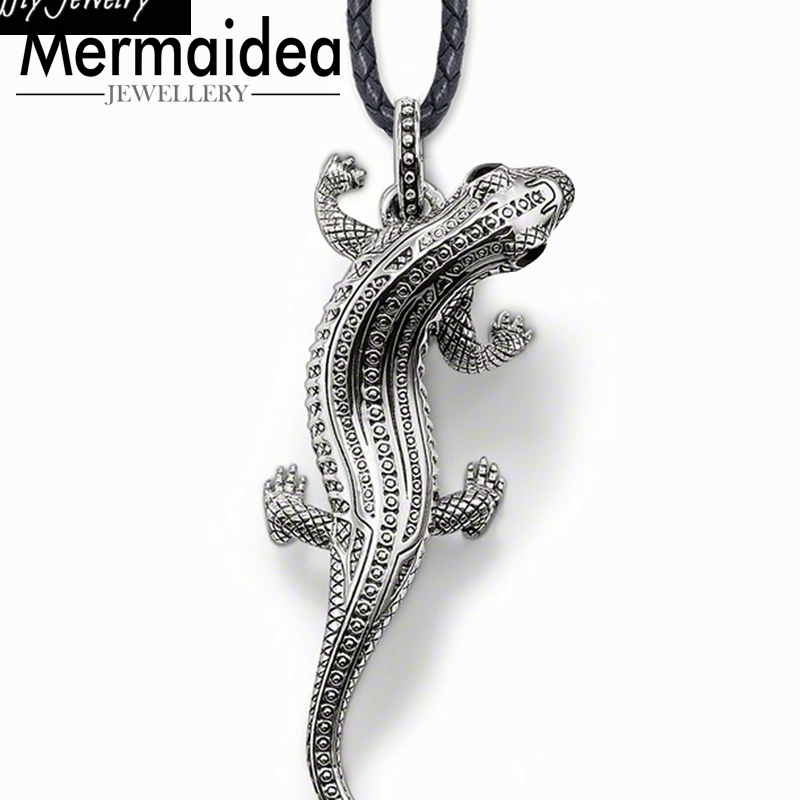Salamander Leather Necklace Party Style Rebel Fashion Good Jewelry Men Women 2019 Gift 925 Sterling Silver Super Deals