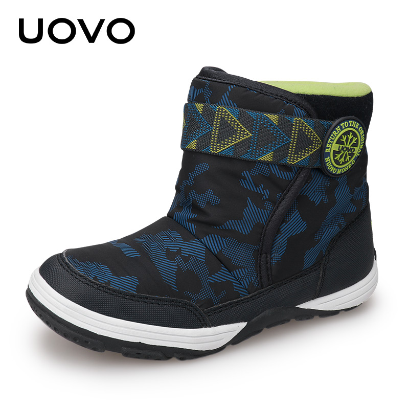 UOVO 2019 New Winter Boots Kids Warm Shoes Brand Fashion Winter Shoes Boys And Girls Snow Boots Toddler Velvet Shoes Size 24-36#