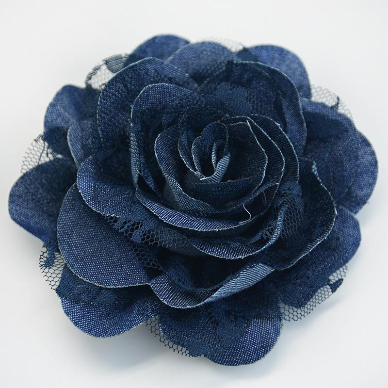 Handmade Hair Accessories Francy Chiffon Rose Flower - Denim Fabric Hair Flower- Lace Jeans Flowers Garment Decoration Flower