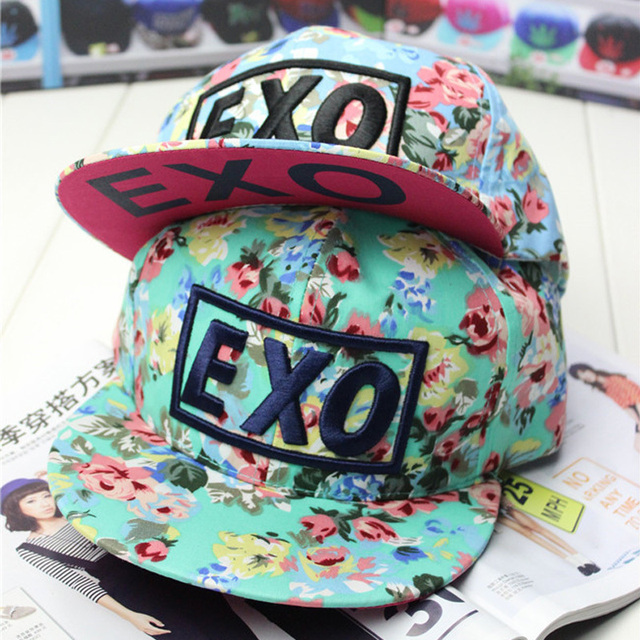4151206425e 2018 brand new design fashion colorful flower print Snapback baseball cap  words EXO women and adjustable