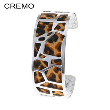 Cremo Leopard Print Leather Bracelets Manchette Femme Stainless Steel Jewelry Cuff Bangles Interchangeable Reversible Pulseiras(China)