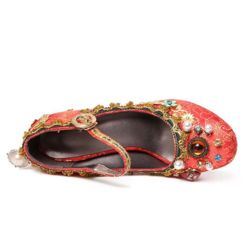 Alta Mujeres Del Rojo Puntiagudo Impreso 40 Tinto De Vintage vino Calzado Dedo 33 Pie Zapatos Rizabina Bombas Pasarela Calidad Clásico Mujer Alto Tamaño Tacón 1txAzqnExw