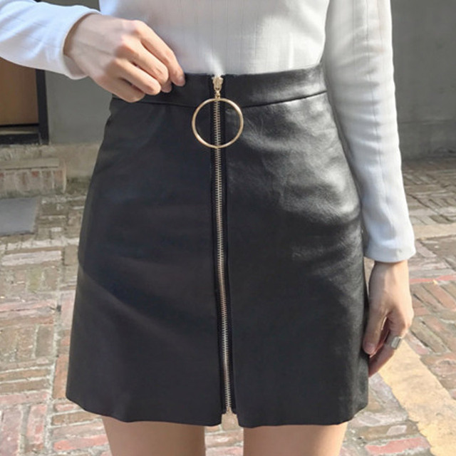 29644af2b Hong Kong Style Retro Slim Mini Skirt Pu Leather Zipper a A-line Skirts  2018 Women Harajuku Sexy High Waist Preppy Style Skirts