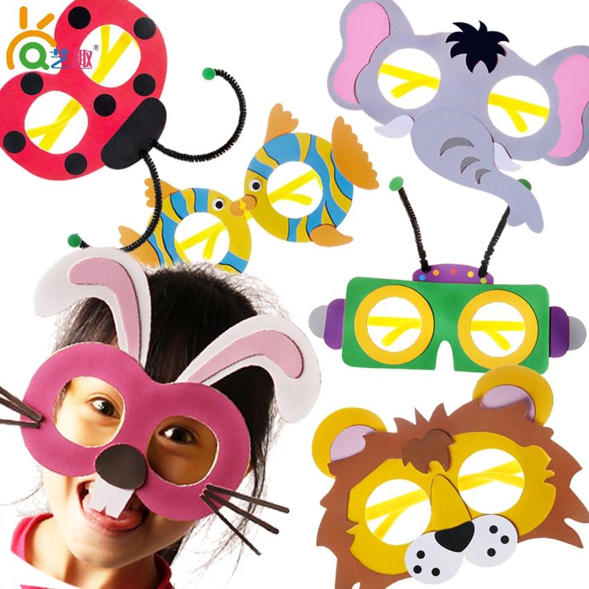 5 PCs 3D diy color paper cartoon glasses toys Kids Child handmade