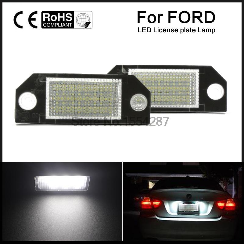 2pcs Car LED License Number Plate Light Lamp 6W 12V 24 LED White Light for Ford Focus 2 C-Max vehemo 2pcs 12v white 24 led car number license plate light lamp for ford focus c max mk2