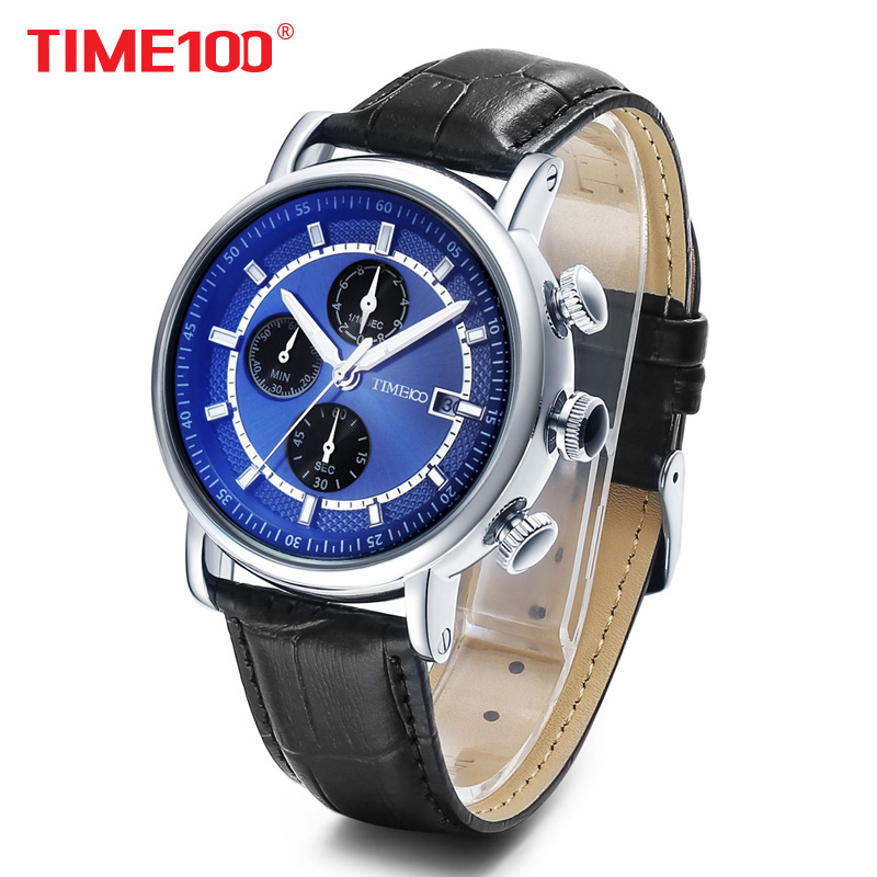 2017 TIME100 Men's Multifunction Sport Casual Quartz Watches Leather Strap Chronograph Military Wrist Watch for Men reloj hombre 4 time100 w40109m