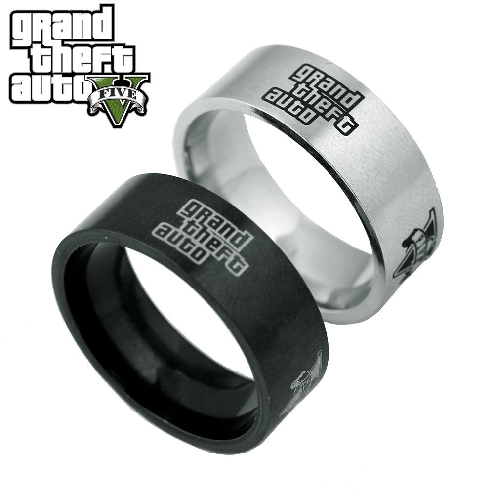 Grand Theft Auto 5 Ring Gta5 Logo Finger Ring Simple Style Round Dress  Costume Souvenirs Cosprey Game Surrounding Us Size 810