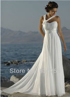 In Stock Free Shipping 2013 Popular Hot Sale White Ivory Sweetheart Chiffon Beach Wedding Dresses Gowns
