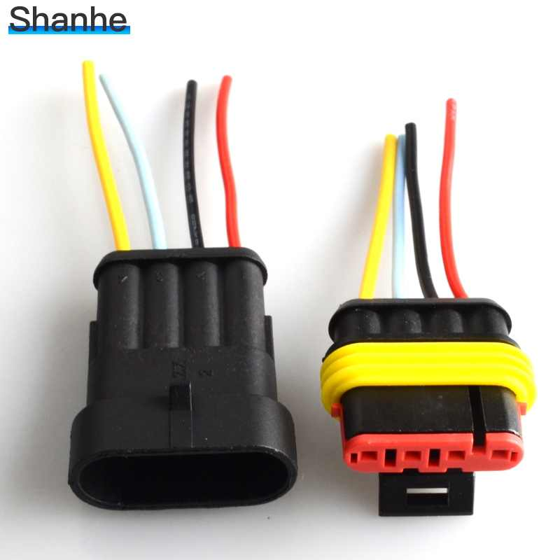 Auto 4 Pin wire connector 4 Way 4 P auto connector macho y hembra impermeable conector eléctrico con cable