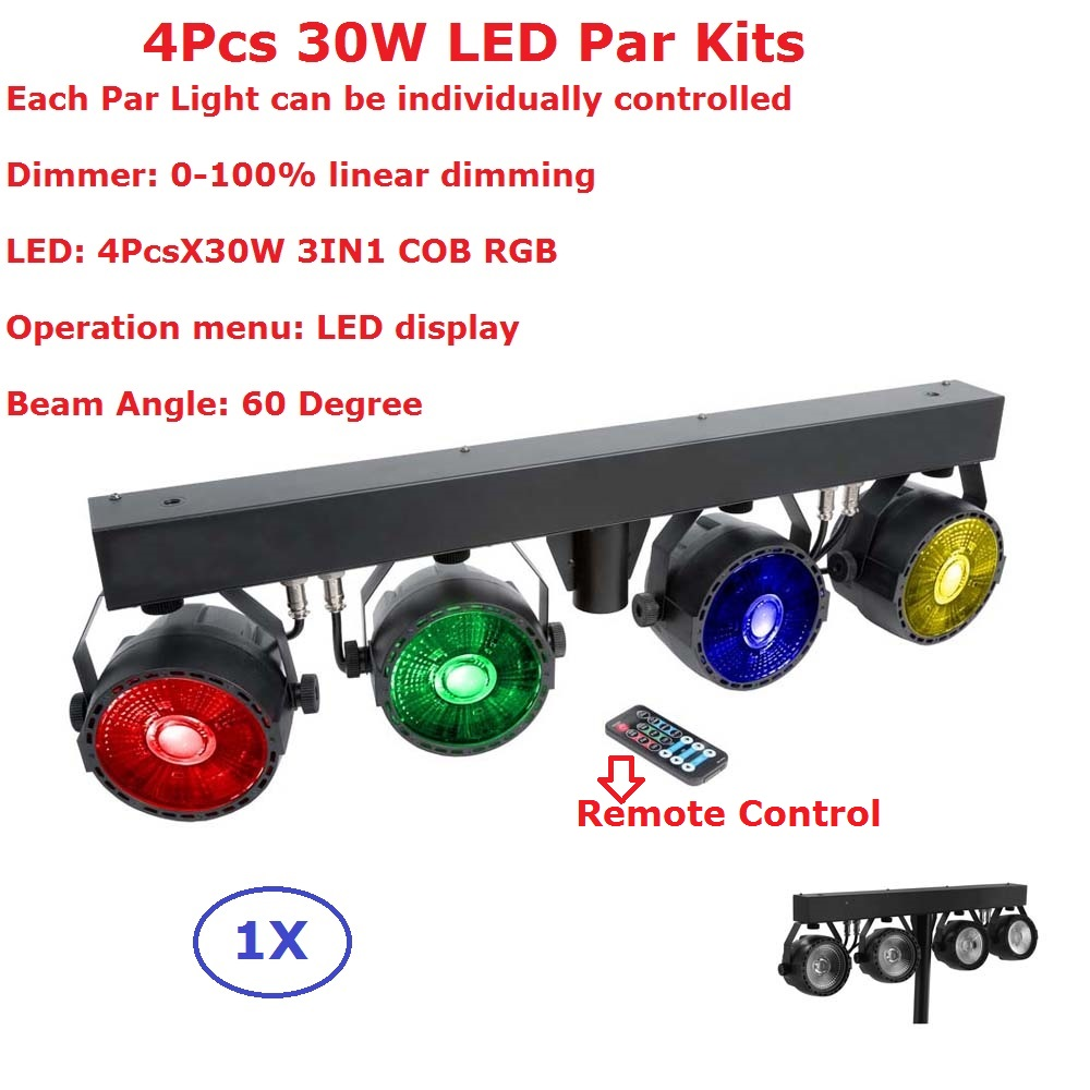 Fast Ship Led Par Kit 4Pcs 30W RGB Full Color Led Slim Flat Par Lights With Light Stand Each Lamp Can Be Individually Controlled good group diy kit led display include p8 smd3in1 30pcs led modules 1 pcs rgb led controller 4 pcs led power supply