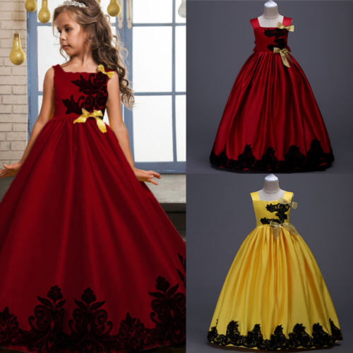 1018cfbf0 Lace Flower Girls Kids Satin Strap Wedding Pageant Formal Party Dresses  Summer Spring Sleeveless Yellow Red Ball Gown Dress 3-12
