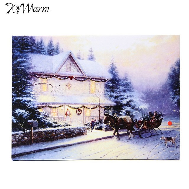 Kiwarm No Frame Led Light Up Snow Houses Canvas Painting Print For