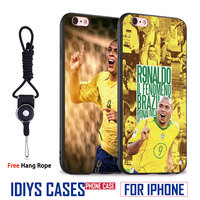 Ronaldo Brazil Football Player With Hang Rope Soft Silicone Phone Case Cover Shell Bag For Apple